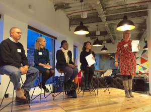 SheStarts co-founder Nancy Cremins introduces the panelists at Building and Using an Advisory Board.